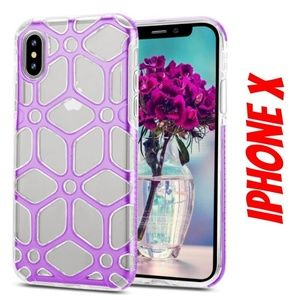 iPhone X Clear Purple Web Hybrid Case